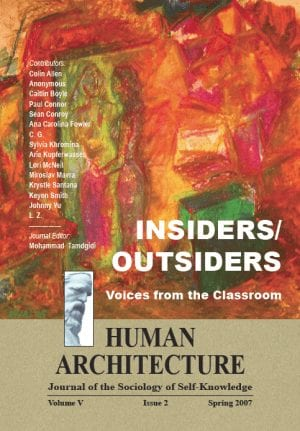 Insiders/Outsiders: Voices from the Classroom HUMAN ARCHITECTURE Journal of the Sociology of Self-Knowledge Volume V • Issue 2 • Spring 2007 Journal Editor: Mohammad H. Tamdgidi, UMass Boston