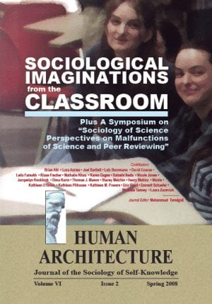 Sociological Imaginations from the Classroom: Plus A Symposium on the Sociology of Science Perspectives on the Malfunctions of Science and Peer Reviewing HUMAN ARCHITECTURE Journal of the Sociology of Self-Knowledge Volume VI • Issue 2 • Spring 2008 Journal Editor: Mohammad H. Tamdgidi, UMass Boston