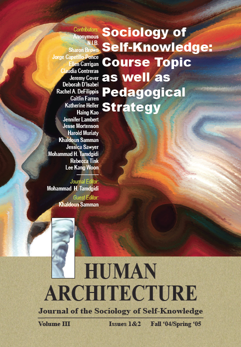 Sociology of Self-Knowledge: Course Topic as well as Pedagogical Strategy [Human Architecture: Journal of the Sociology of Self-Knowledge, III, 1&2, 2005]