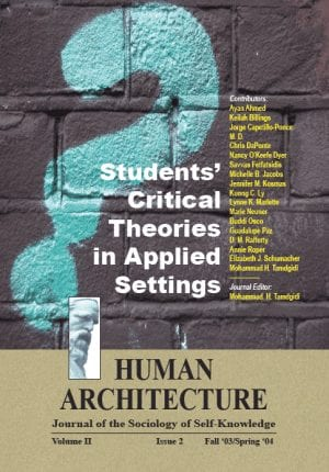 Students' Critical Theories in Applied Settings HUMAN ARCHITECTURE Journal of the Sociology of Self-Knowledge Volume II • Issue 2 • Fall 2003/Spring 2004 Journal Editor: Mohammad H. Tamdgidi, UMass Boston