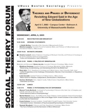 Second Annual Social Theory Forum on Edward Said, 2005, UMass Boston