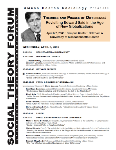 Proceedings of the Second Annual Social Theory Forum, April 6-7, 2005, UMass Boston—Theories and Praxes of Difference: Revisiting Edward Said in the Age of New Globalizations